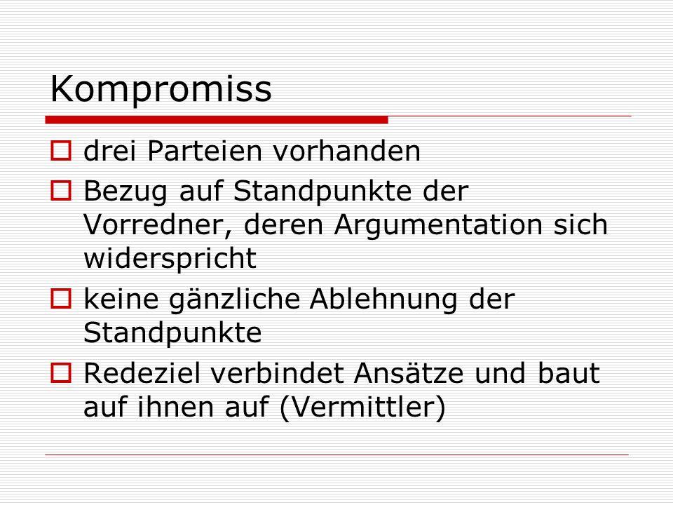 Kompromiss drei Parteien vorhanden