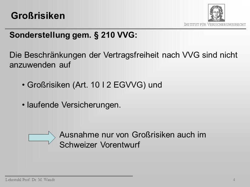 Großrisiken Sonderstellung gem. § 210 VVG: