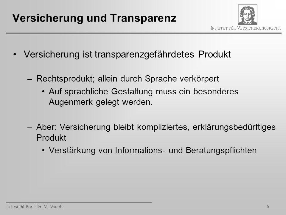 Versicherung und Transparenz