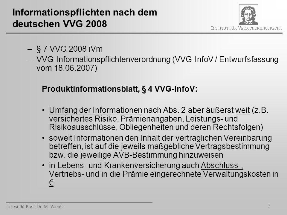 Informationspflichten nach dem deutschen VVG 2008