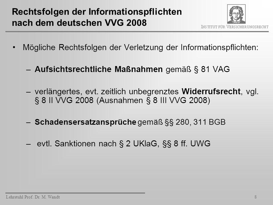 Rechtsfolgen der Informationspflichten nach dem deutschen VVG 2008