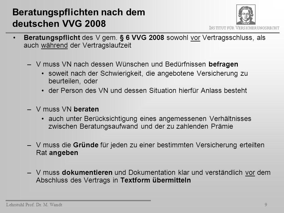 Beratungspflichten nach dem deutschen VVG 2008