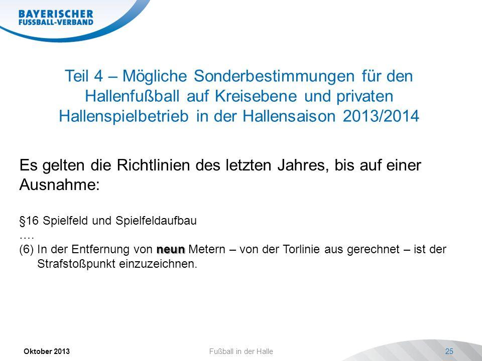 Teil 4 – Mögliche Sonderbestimmungen für den Hallenfußball auf Kreisebene und privaten Hallenspielbetrieb in der Hallensaison 2013/2014