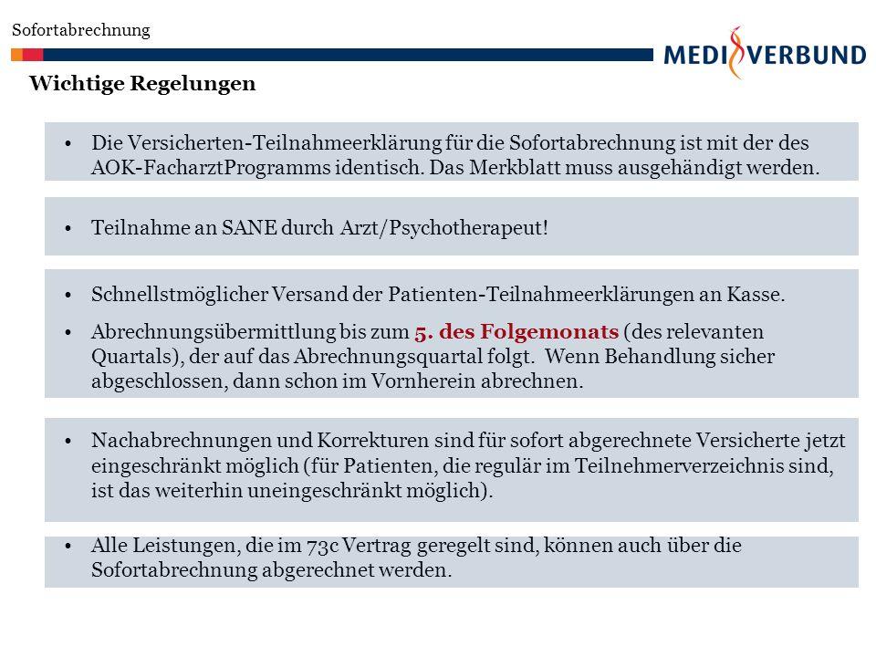 Teilnahme an SANE durch Arzt/Psychotherapeut!