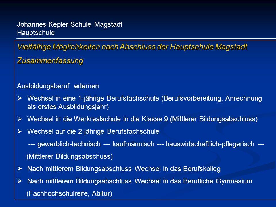 Vielfältige Möglichkeiten nach Abschluss der Hauptschule Magstadt