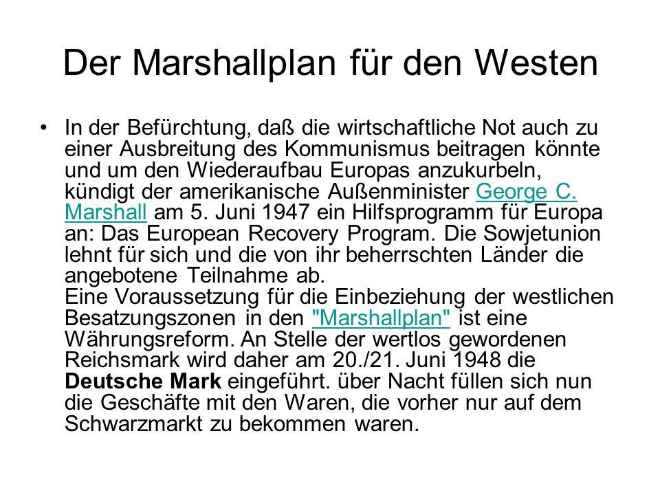 Der Marshallplan für den Westen