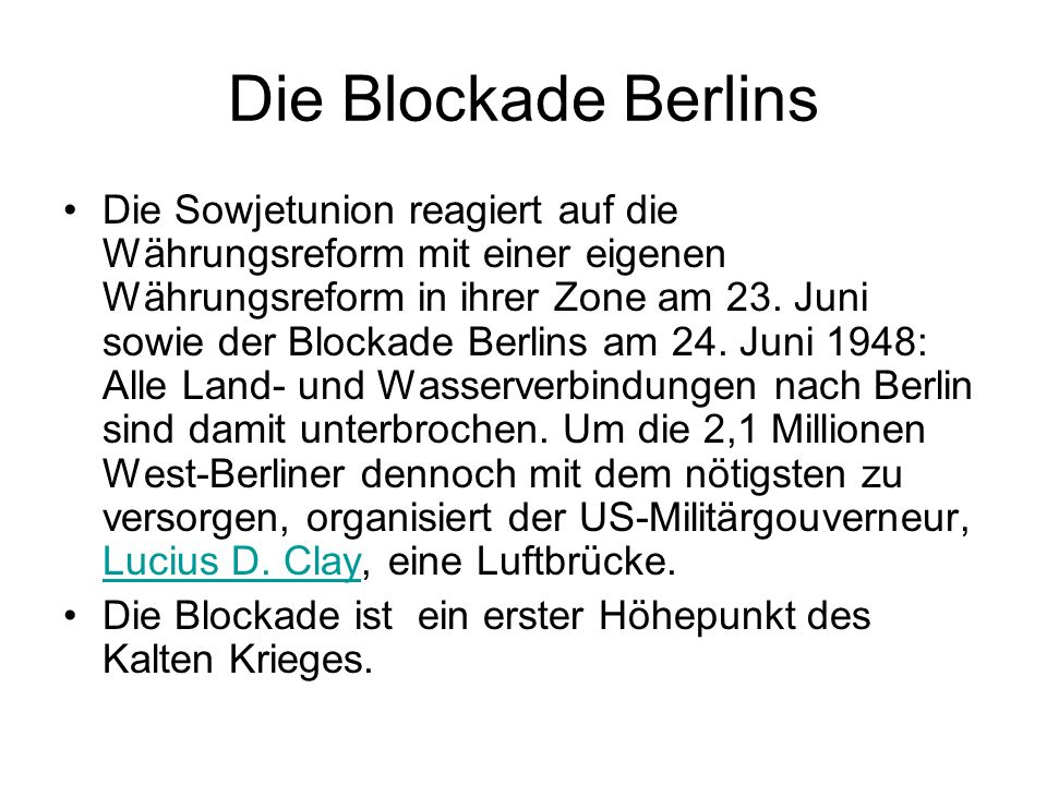 Die Blockade Berlins