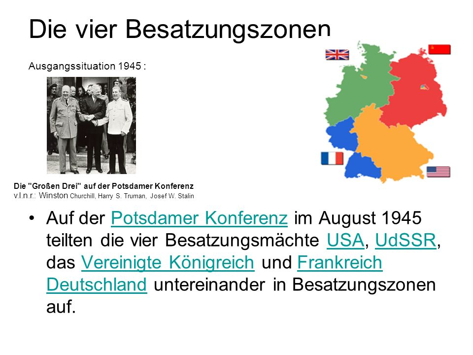 Die vier Besatzungszonen Ausgangssituation 1945 :