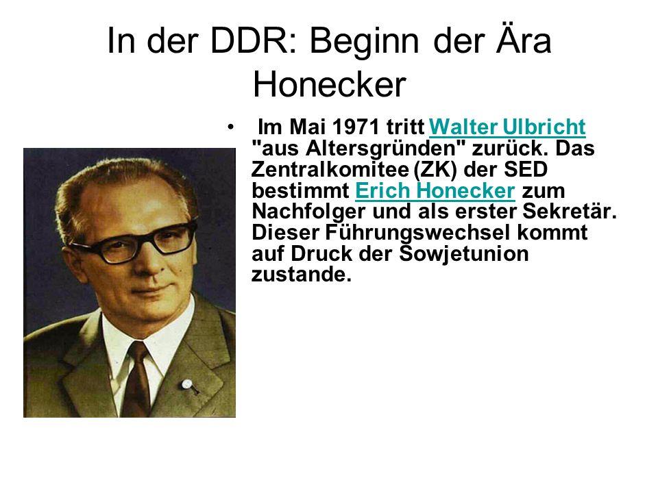 In der DDR: Beginn der Ära Honecker