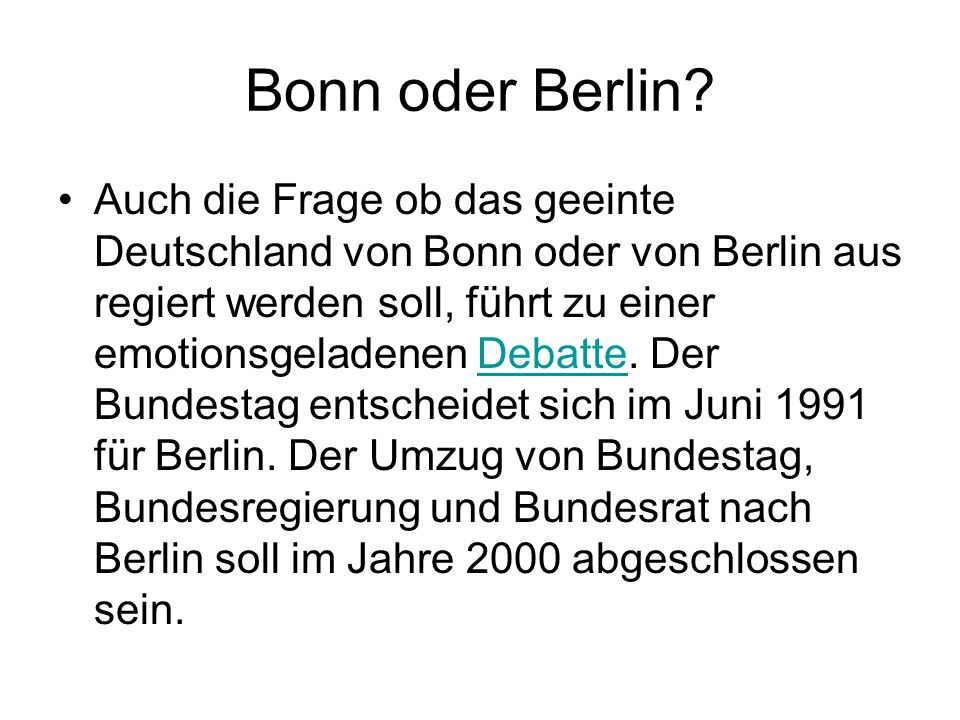 Bonn oder Berlin