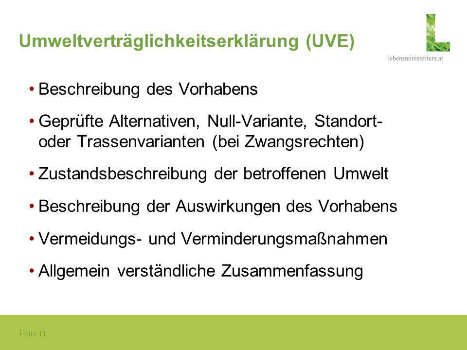 Umweltverträglichkeitserklärung (UVE)