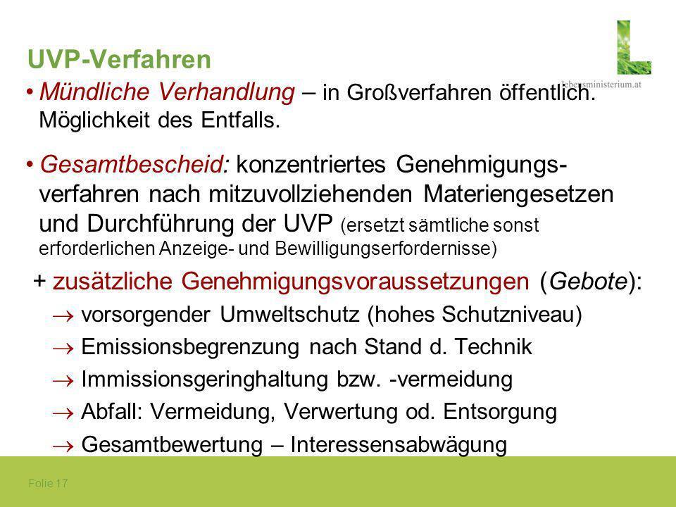 UVP-Verfahren Mündliche Verhandlung – in Großverfahren öffentlich. Möglichkeit des Entfalls.