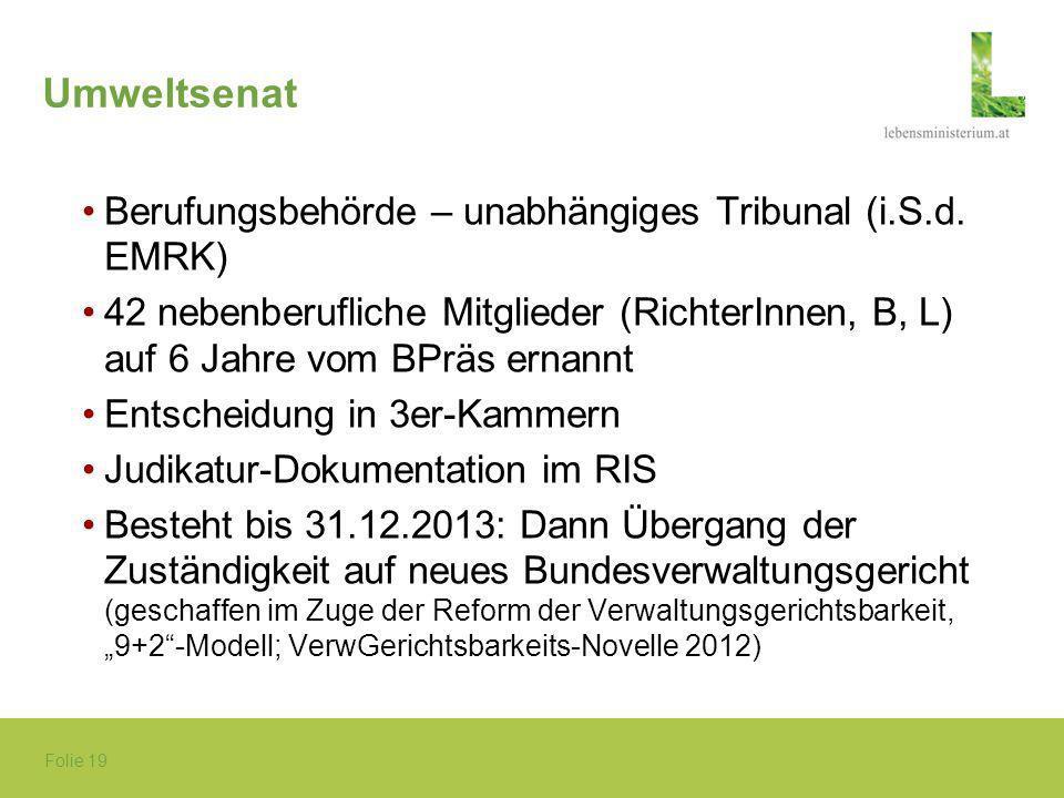 Umweltsenat Berufungsbehörde – unabhängiges Tribunal (i.S.d. EMRK)
