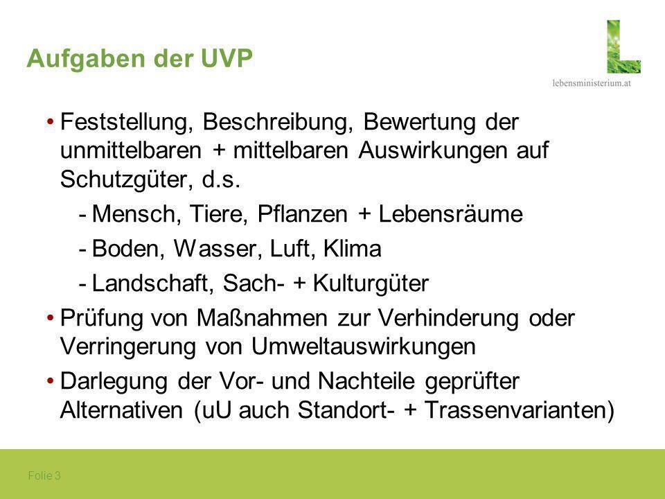 Aufgaben der UVP Feststellung, Beschreibung, Bewertung der unmittelbaren + mittelbaren Auswirkungen auf Schutzgüter, d.s.