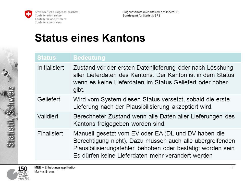 Status eines Kantons Status Bedeutung Initialisiert
