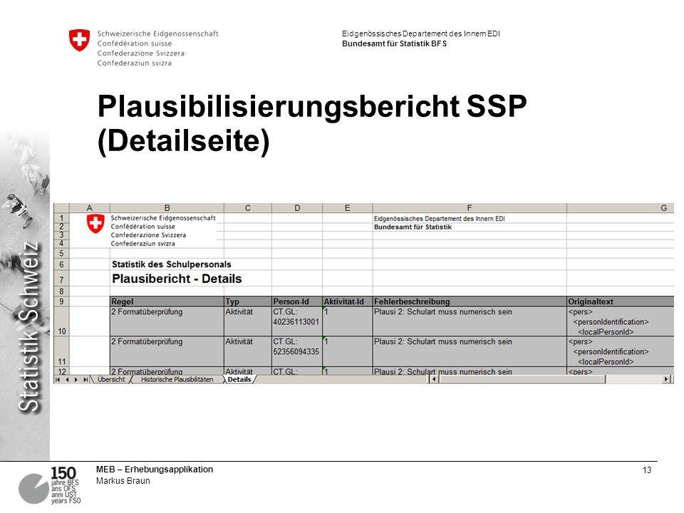 Plausibilisierungsbericht SSP (Detailseite)