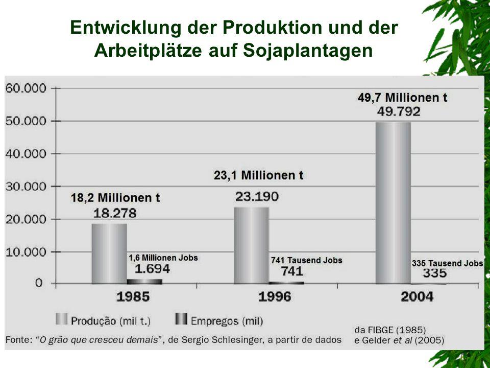 Entwicklung der Produktion und der Arbeitplätze auf Sojaplantagen