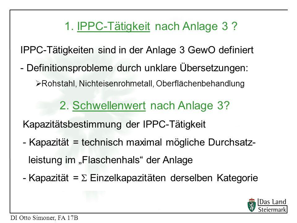 1. IPPC-Tätigkeit nach Anlage 3
