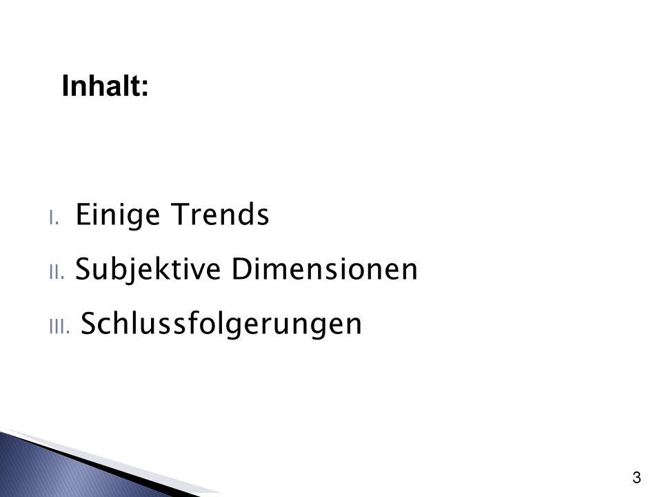 Inhalt: Einige Trends Subjektive Dimensionen Schlussfolgerungen