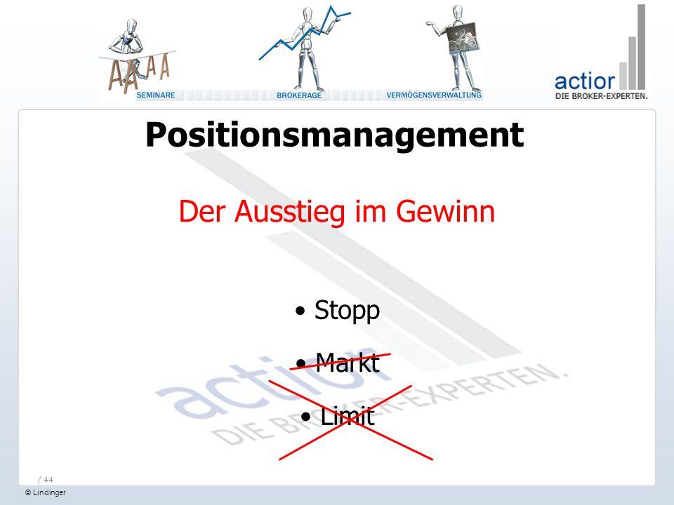 Positionsmanagement Der Ausstieg im Gewinn Stopp Markt Limit / 44
