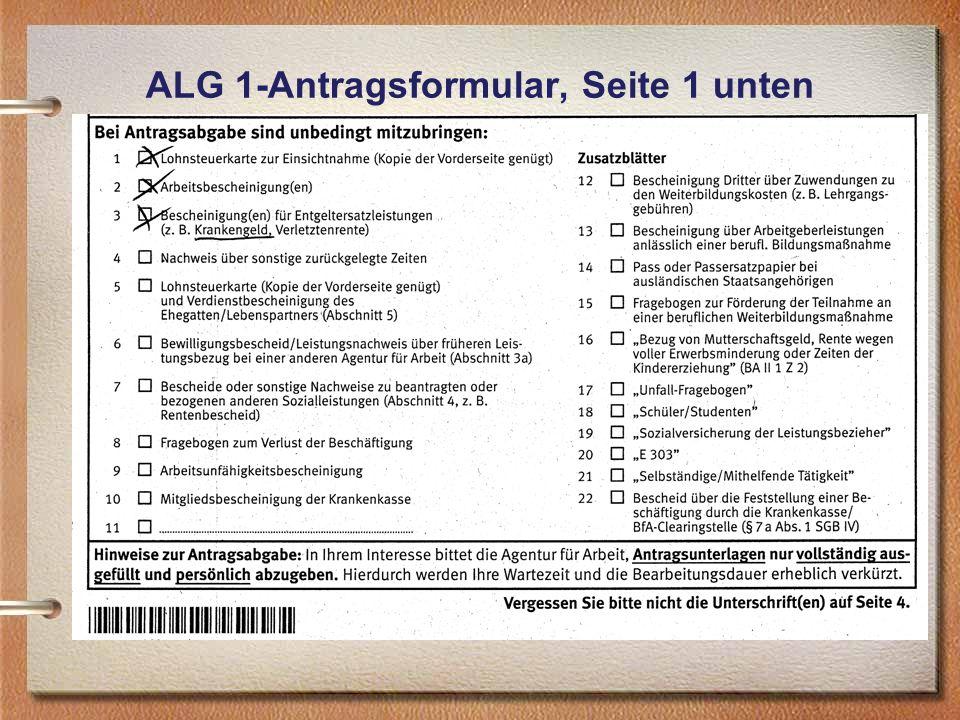 ALG 1-Antragsformular, Seite 1 unten