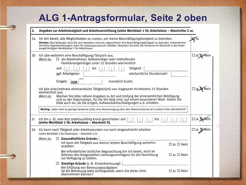 ALG 1-Antragsformular, Seite 2 oben