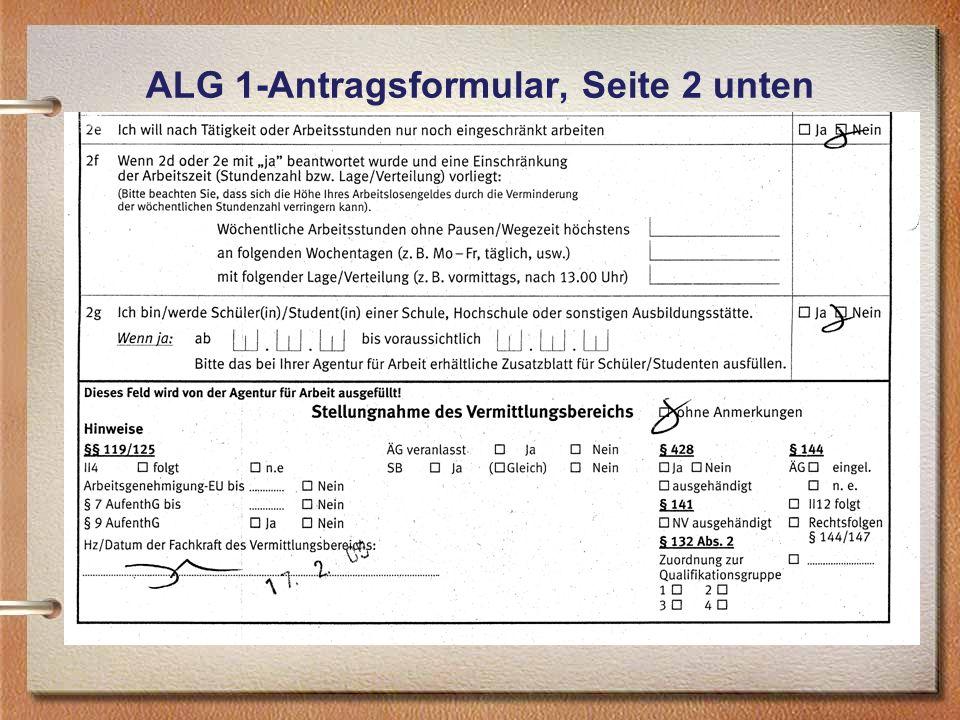ALG 1-Antragsformular, Seite 2 unten