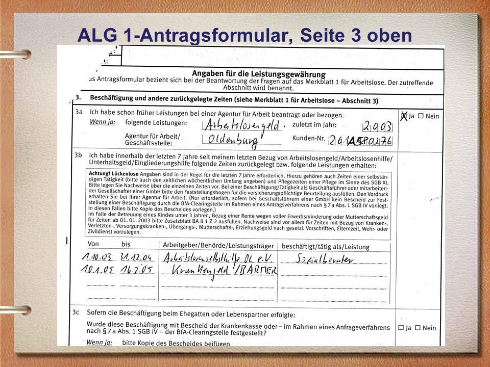 ALG 1-Antragsformular, Seite 3 oben