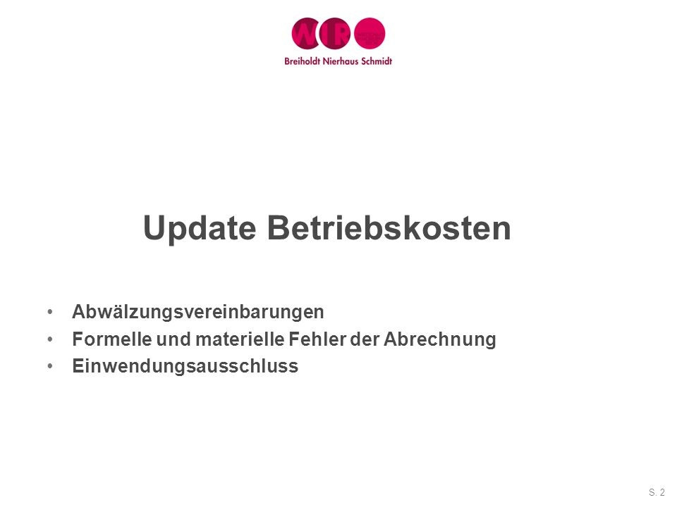 Update Betriebskosten