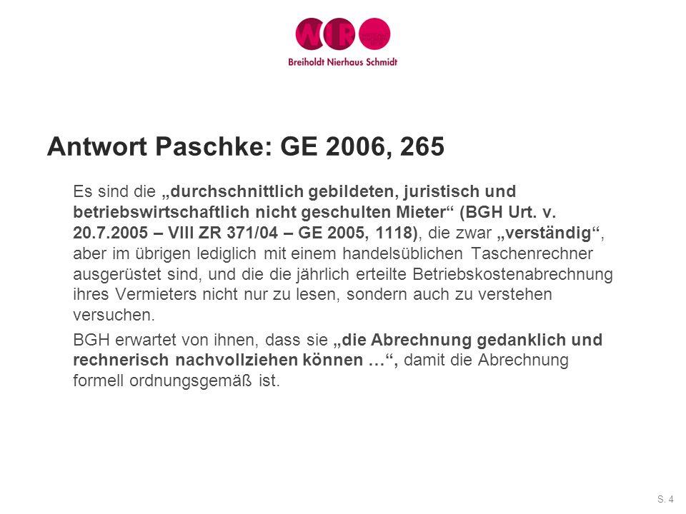 Antwort Paschke: GE 2006, 265