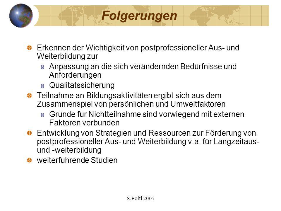 Folgerungen Erkennen der Wichtigkeit von postprofessioneller Aus- und Weiterbildung zur.