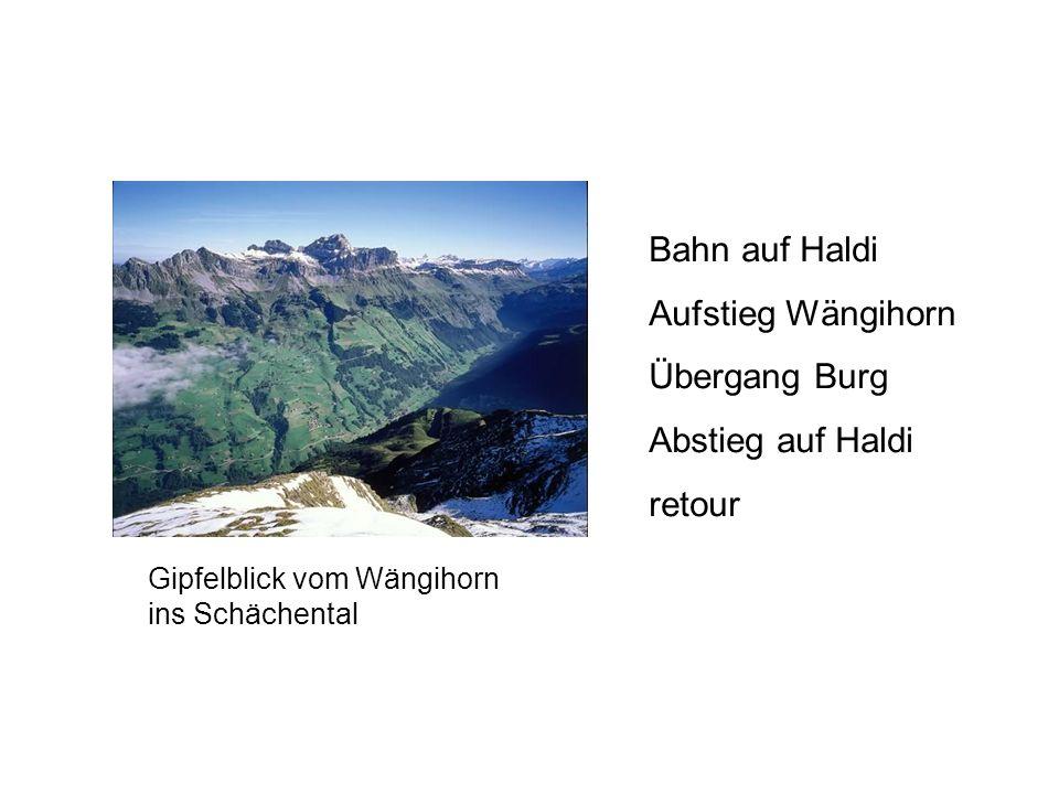 Bahn auf Haldi Aufstieg Wängihorn Übergang Burg Abstieg auf Haldi