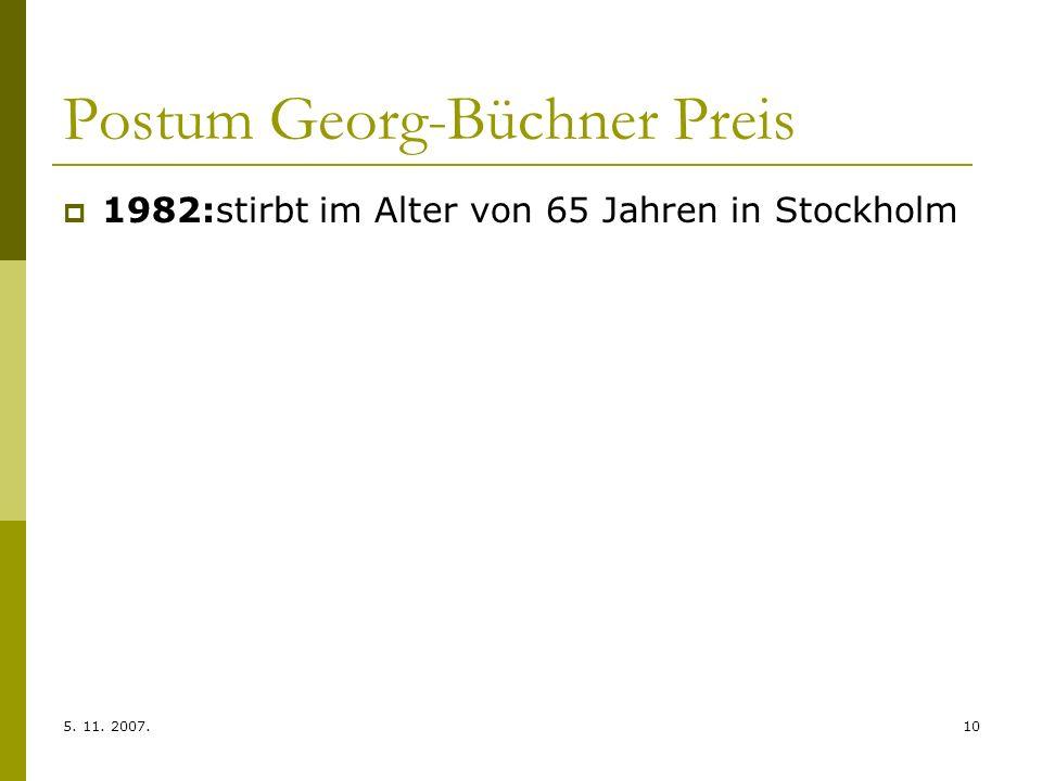 Postum Georg-Büchner Preis