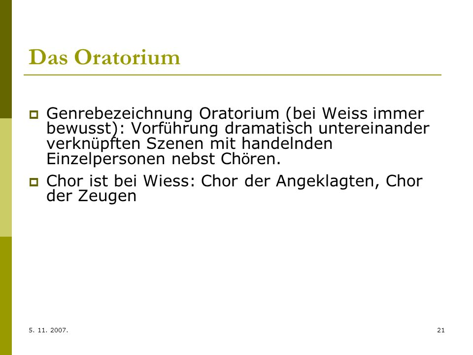 Das Oratorium