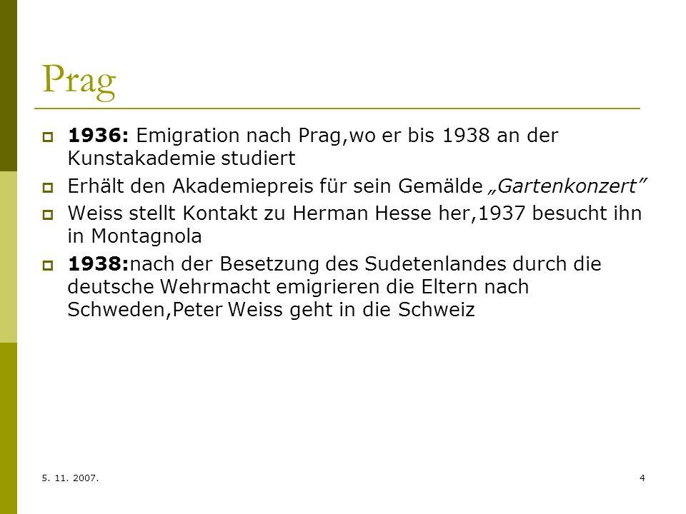 """Prag 1936: Emigration nach Prag,wo er bis 1938 an der Kunstakademie studiert. Erhält den Akademiepreis für sein Gemälde """"Gartenkonzert"""