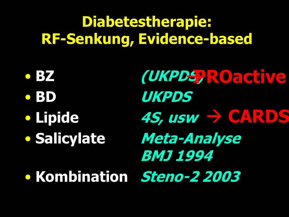 Diabetestherapie: RF-Senkung, Evidence-based