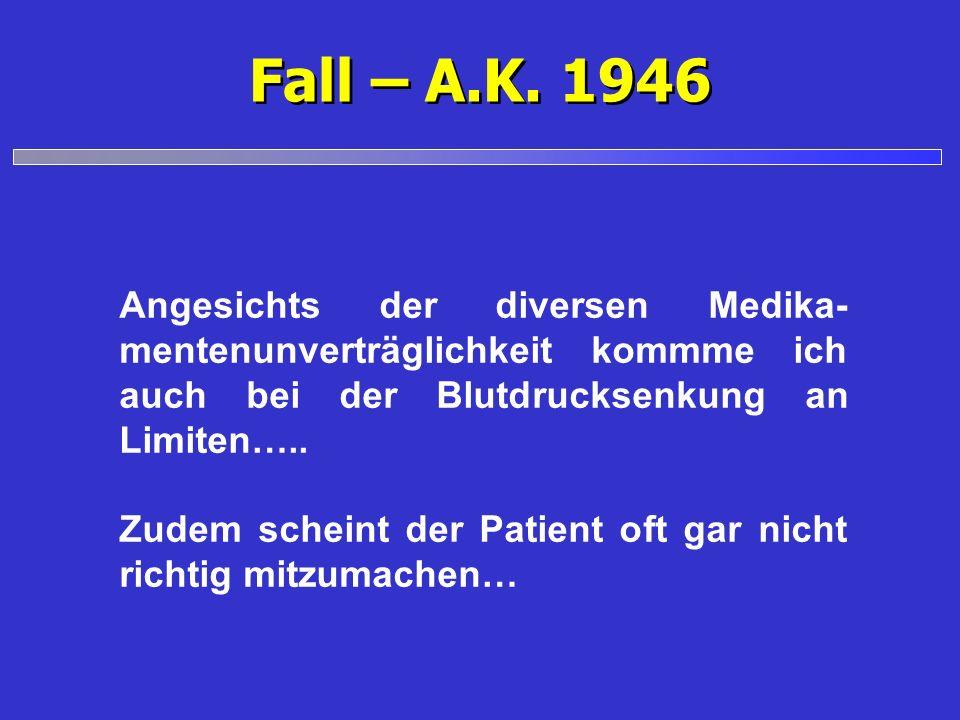 Fall – A.K. 1946Angesichts der diversen Medika-mentenunverträglichkeit kommme ich auch bei der Blutdrucksenkung an Limiten…..