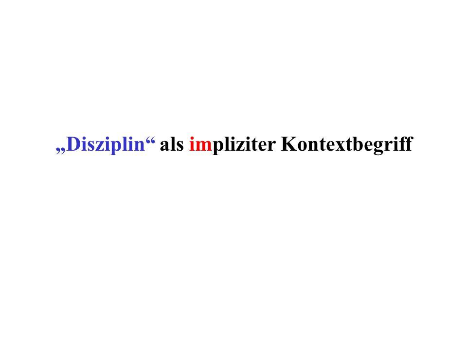 """""""Disziplin als impliziter Kontextbegriff"""