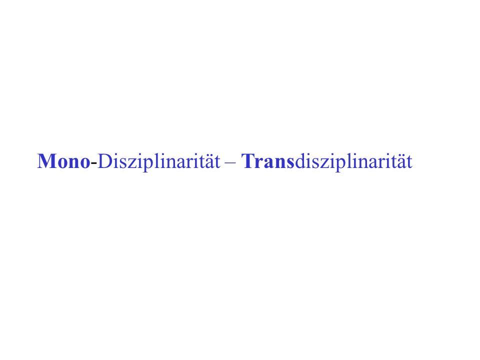 Mono-Disziplinarität – Transdisziplinarität