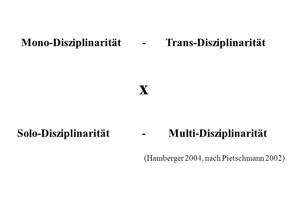 x Solo-Disziplinarität - Multi-Disziplinarität