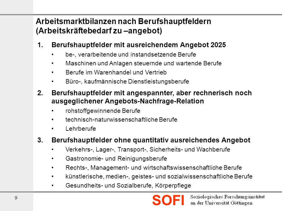 Arbeitsmarktbilanzen nach Berufshauptfeldern (Arbeitskräftebedarf zu –angebot)