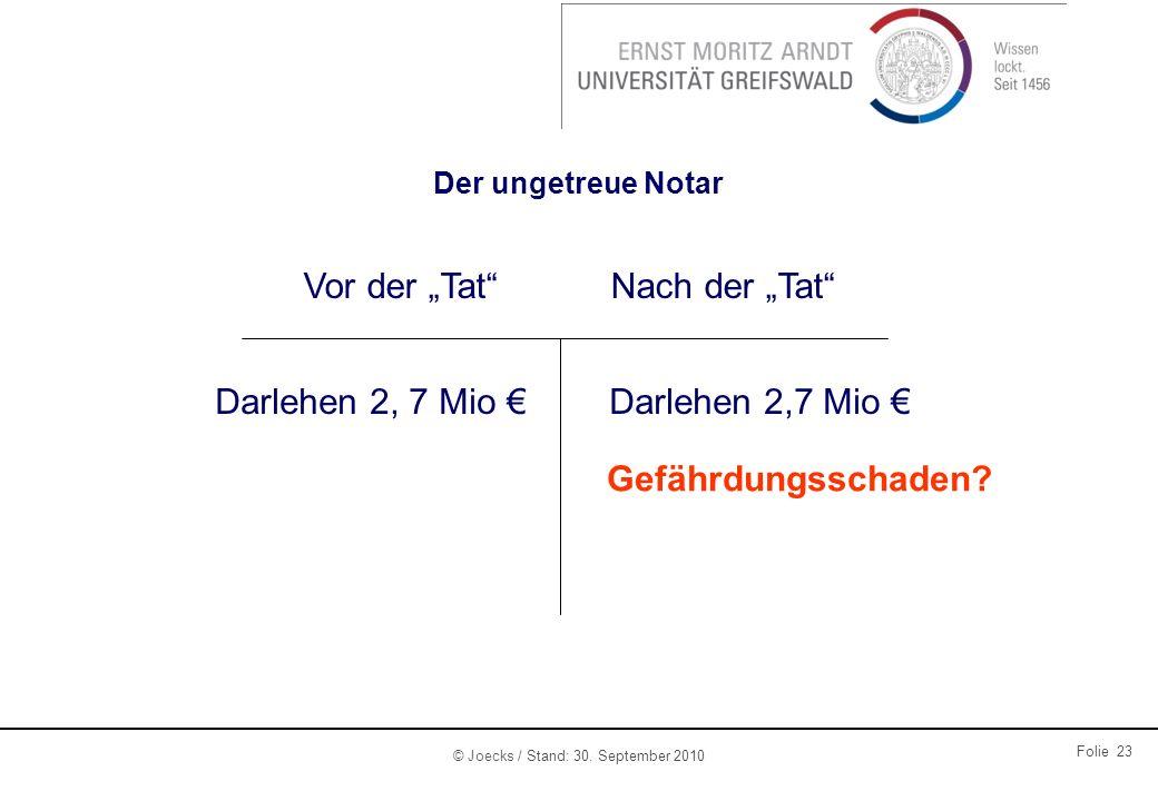 """Vor der """"Tat Nach der """"Tat Darlehen 2, 7 Mio € Darlehen 2,7 Mio €"""