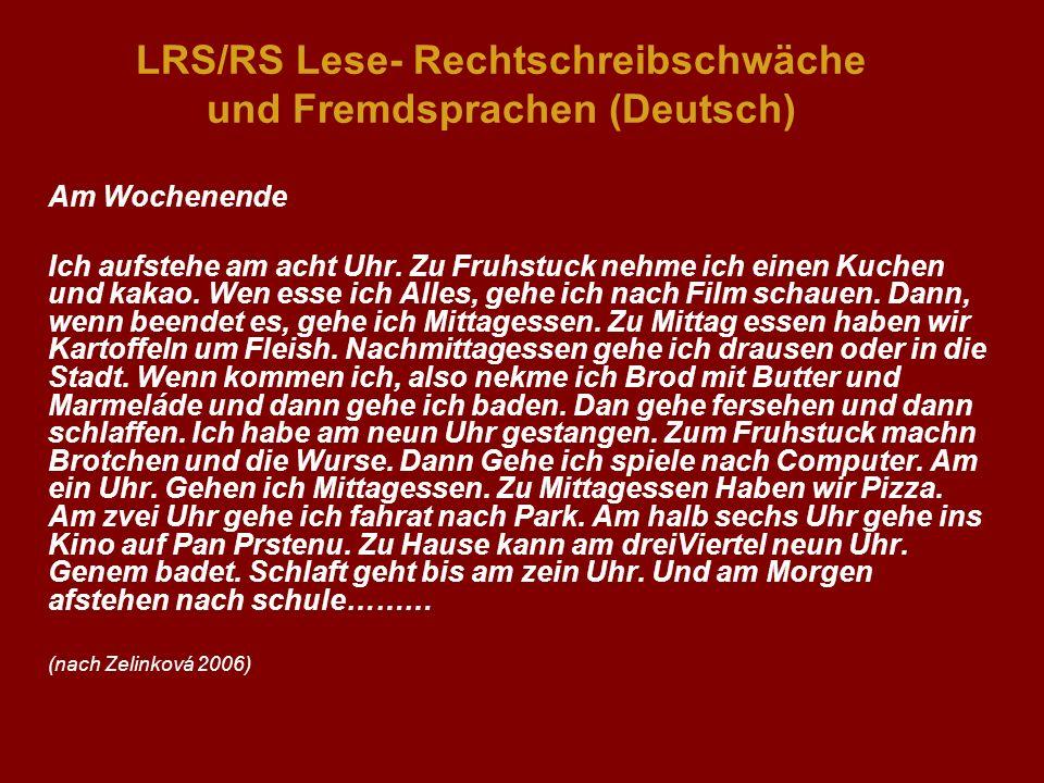 LRS/RS Lese- Rechtschreibschwäche und Fremdsprachen (Deutsch)