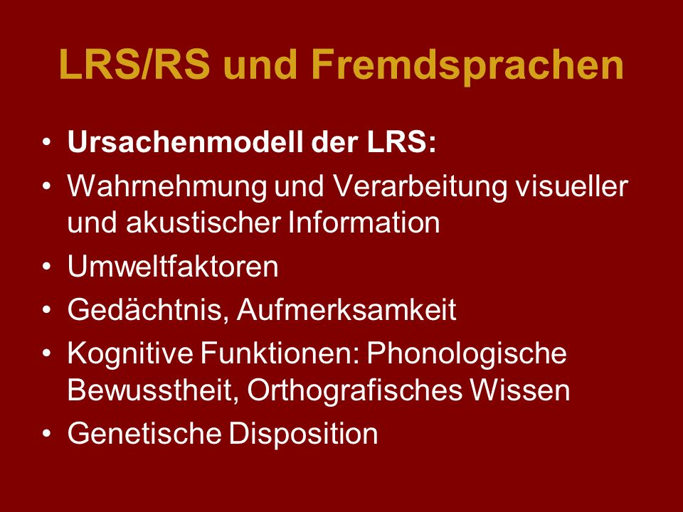 LRS/RS und Fremdsprachen