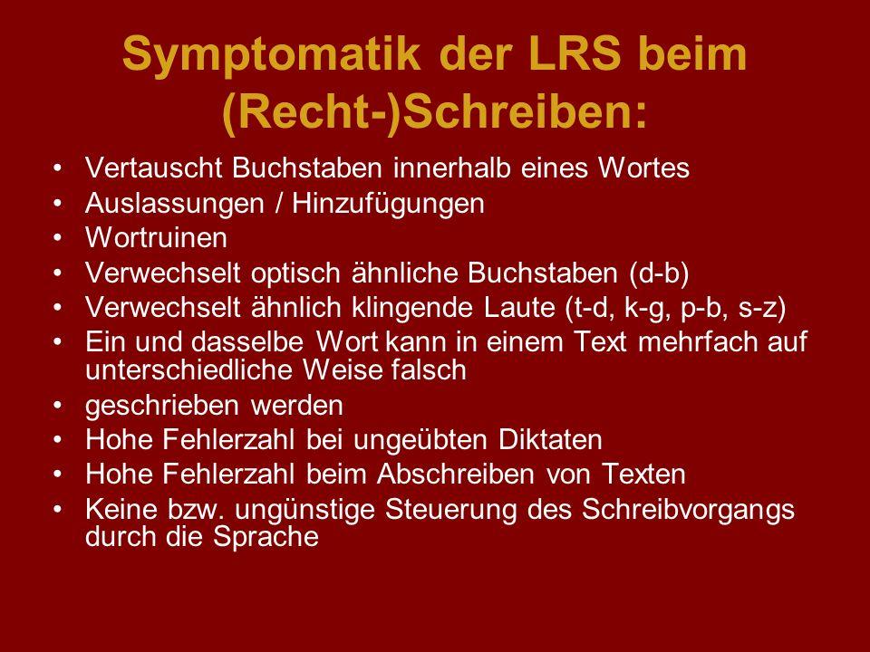 Symptomatik der LRS beim (Recht-)Schreiben: