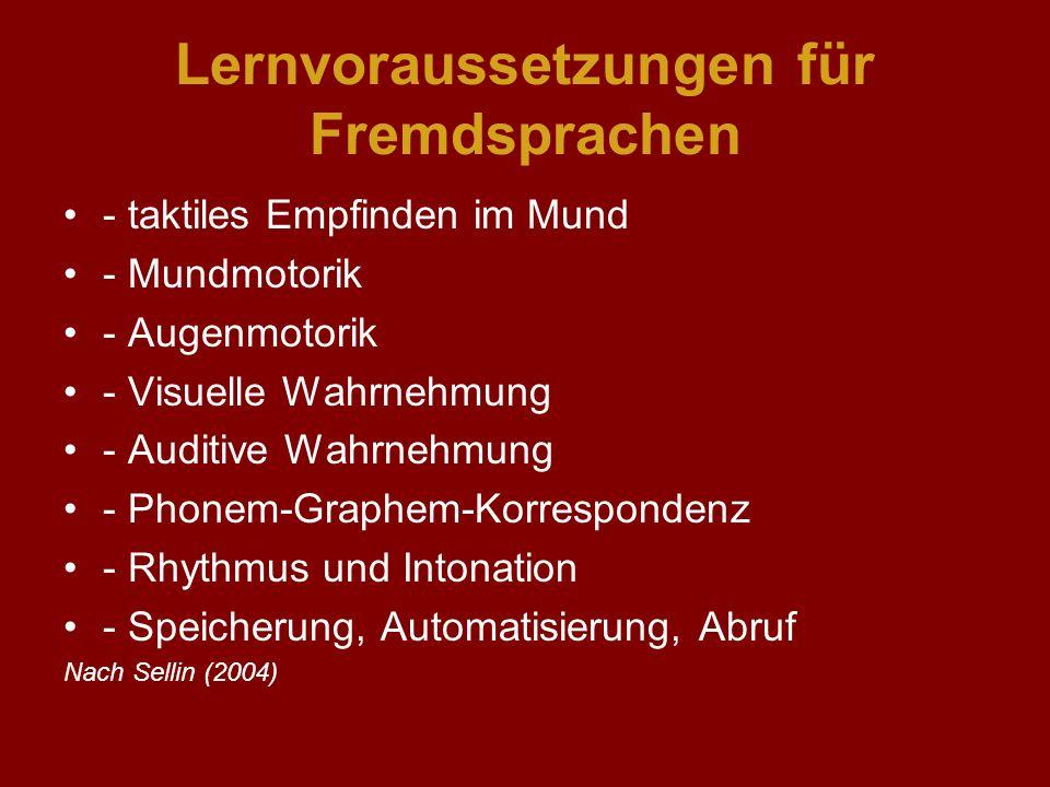 Lernvoraussetzungen für Fremdsprachen