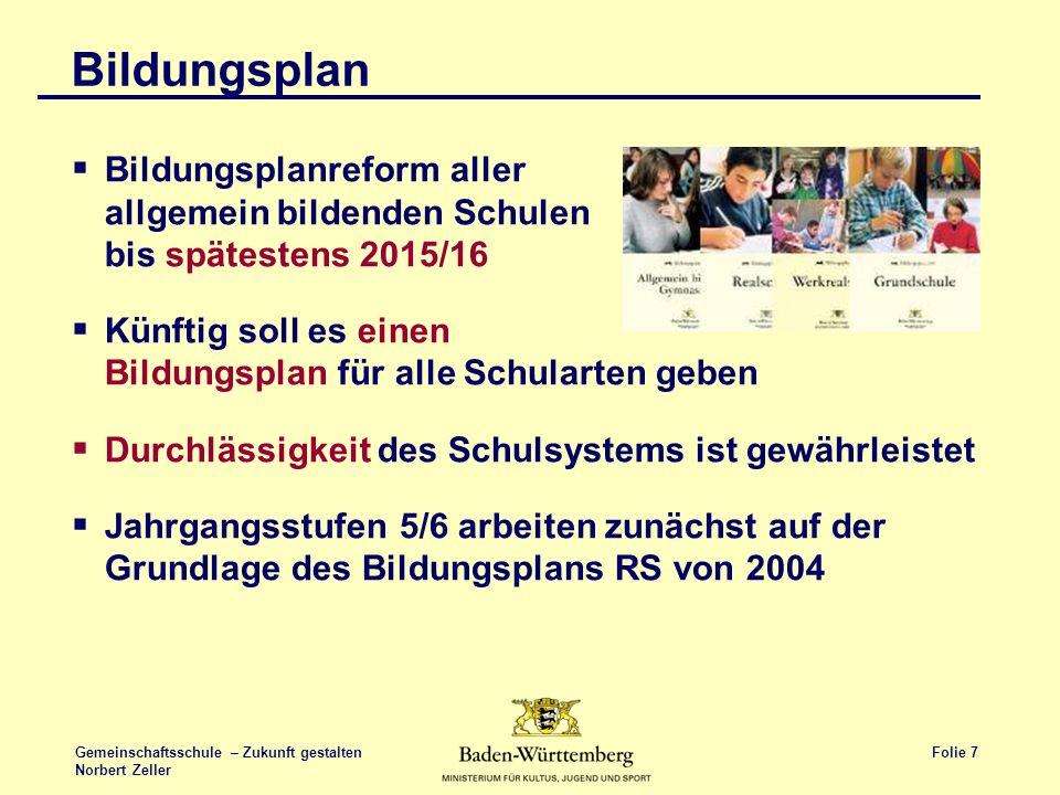 Bildungsplan Bildungsplanreform aller allgemein bildenden Schulen bis spätestens 2015/16.