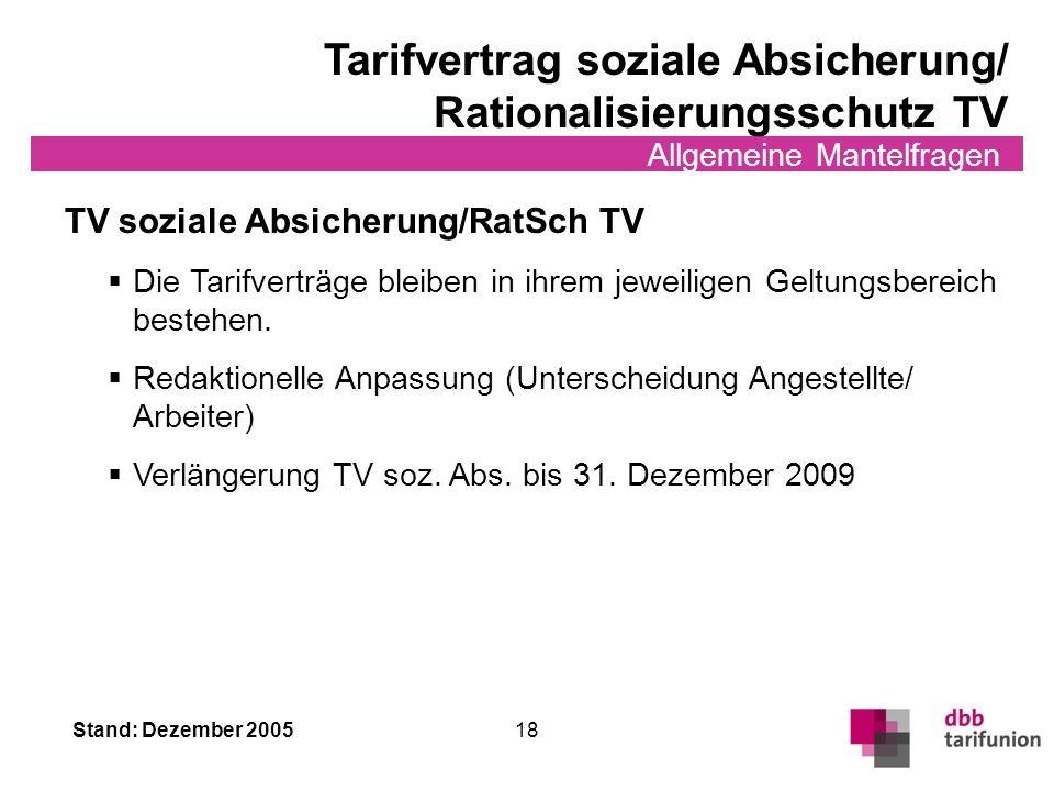 Tarifvertrag soziale Absicherung/ Rationalisierungsschutz TV