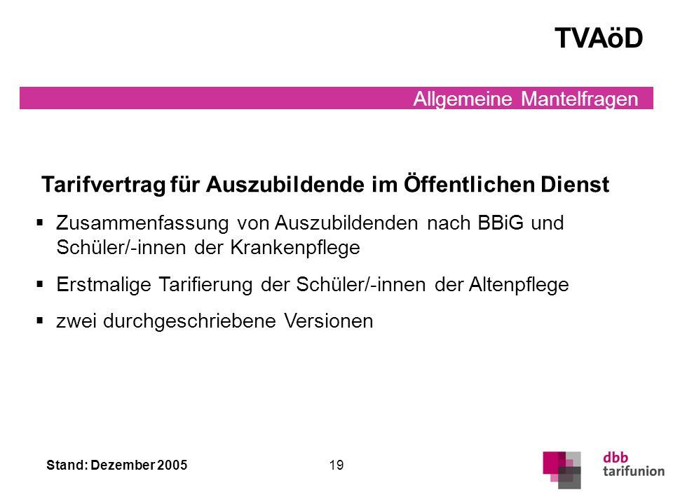 TVAöD Tarifvertrag für Auszubildende im Öffentlichen Dienst