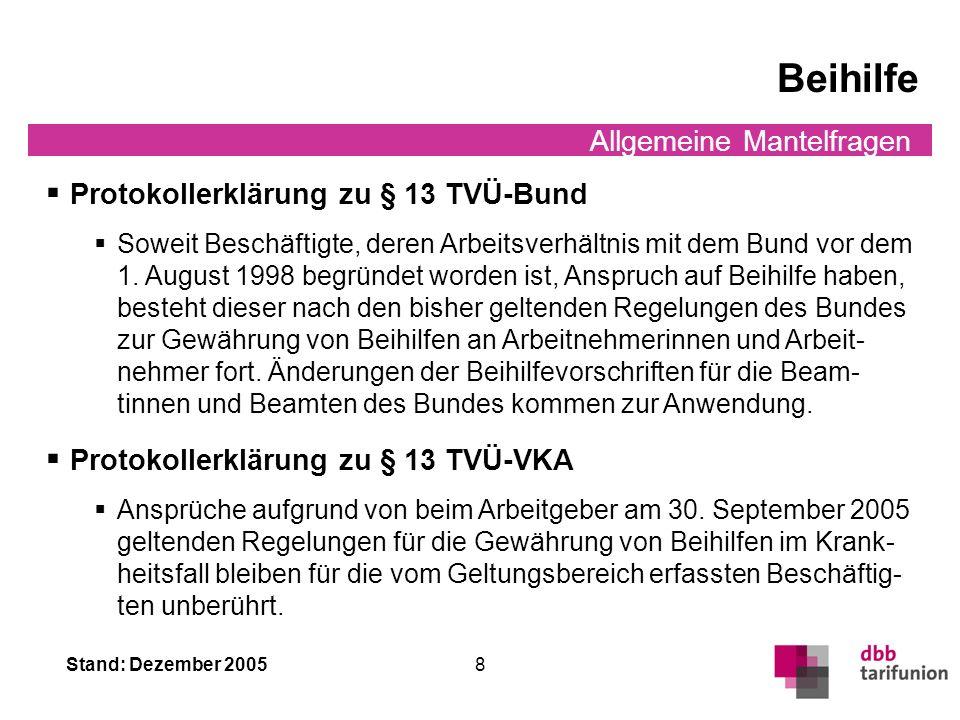 Beihilfe Protokollerklärung zu § 13 TVÜ-Bund